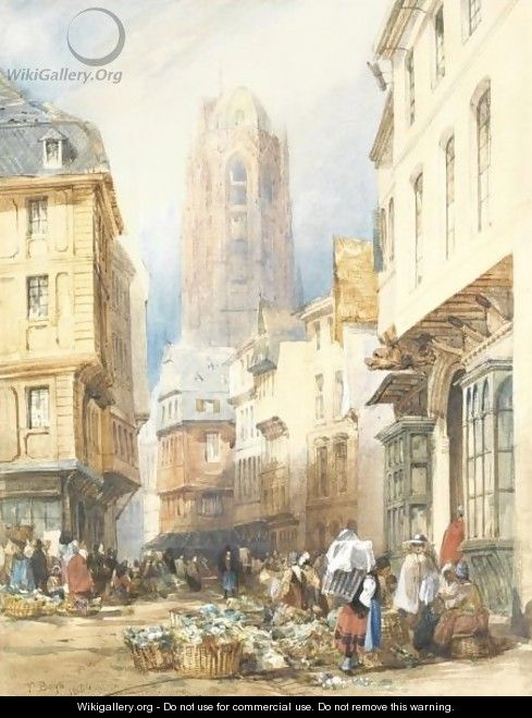 A Market Scene, Rouen, The Church Of St. Ouen Beyond - Thomas Shotter Boys