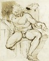 A Seated Male Nude - Johann Henry Fuseli
