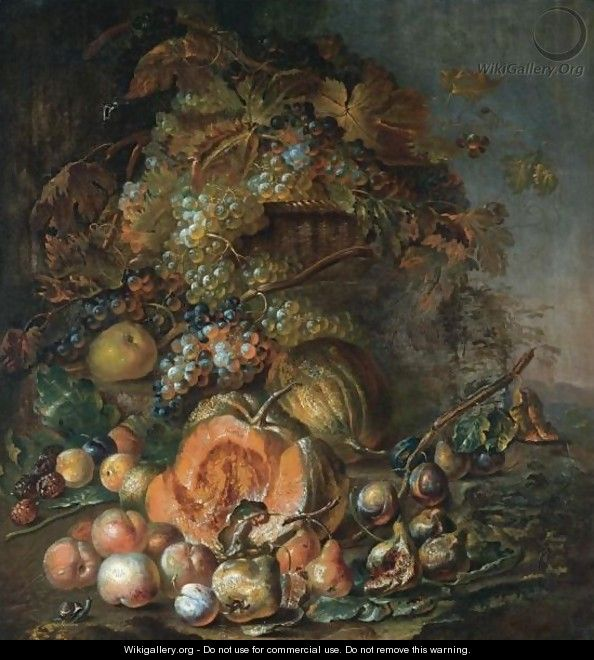 Still Life Of Melon, Peaches, Pears, And Grapes On The Vine In A Basket - Joseph Teal Cooper