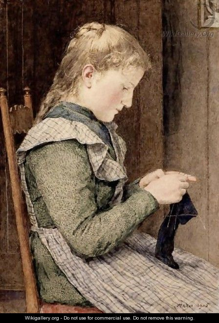 Girl Knitting, 1905 - Albert Anker