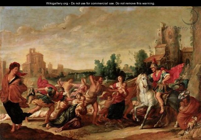 Landscape With The Massacre Of The Innocents - (after) Frans II Francken