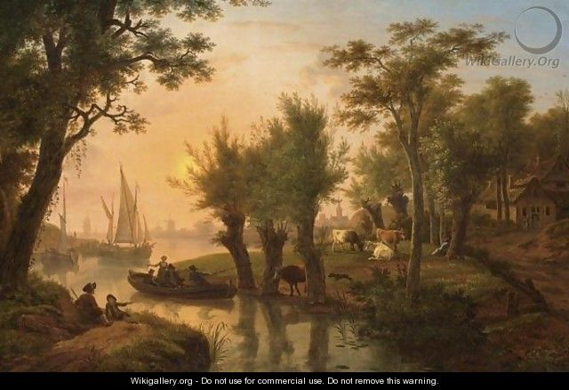 A River Landscape With Fishermen In A Boat Near A Meadow With Cows At Sunset, Sailing Vessels And A Town In The Background - Frans Swagers