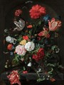 Still Life With Flowers In A Glass Vase On A Stone Ledge Before A Niche - (after) Jan Davidsz. De Heem