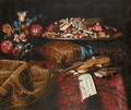 Still Life With A Cushion, Flowers And Sweetmeats And A Violin - Roman School