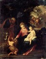The Holy Family With Saint John The Baptist - (after) Pier Francesco Mola
