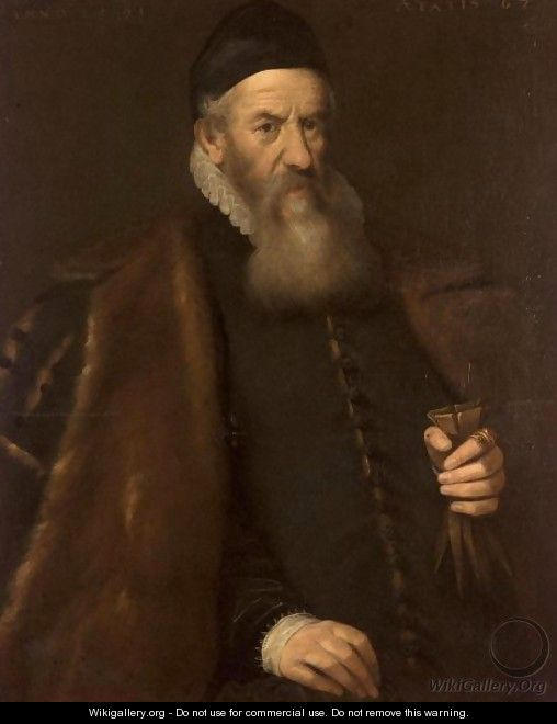Portrait Of A Gentleman, Three-Quarter Length, Wearing A Black Furlined Cloak And Holding A Pair Of Gloves - Venetian School