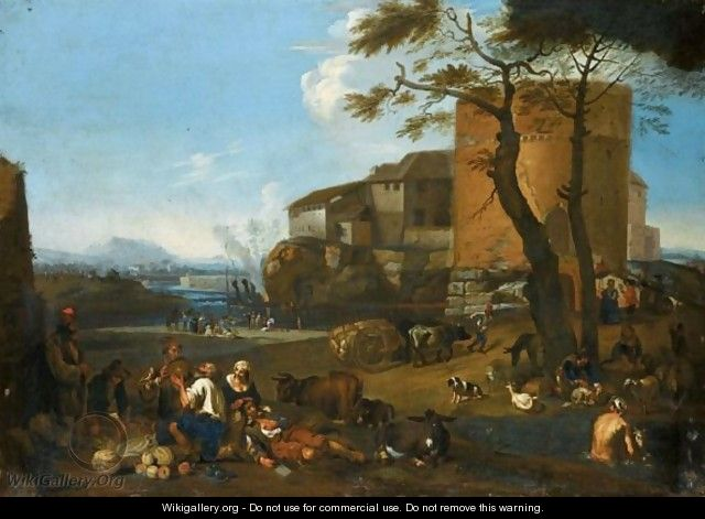 Italianate Landscape With Peasants Eating And Drinking With Their Animals Near A Fortified Village - (after) Michaelanglo Cerquozzi