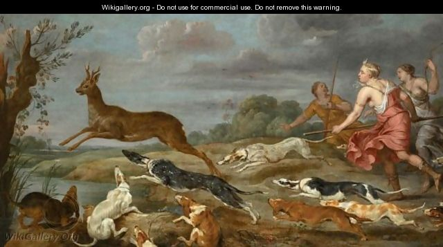 Diana And Her Nymphs Hunting Deer - (after) Paul De Vos
