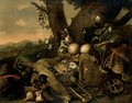 Landscape With A Spaniel, A Rabbit, A Tortoise And Fruit Beside An Animal Skull - Dutch School