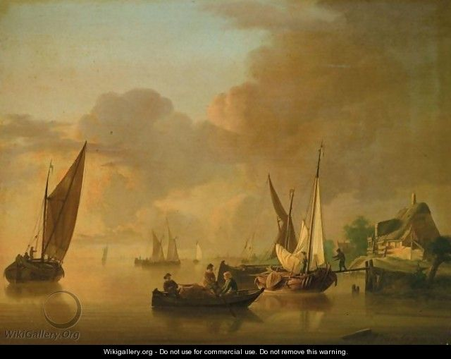 A River Landscape With Smalschips Unloading Their Cargo, Together With A Rowing Boat - Jan van Os