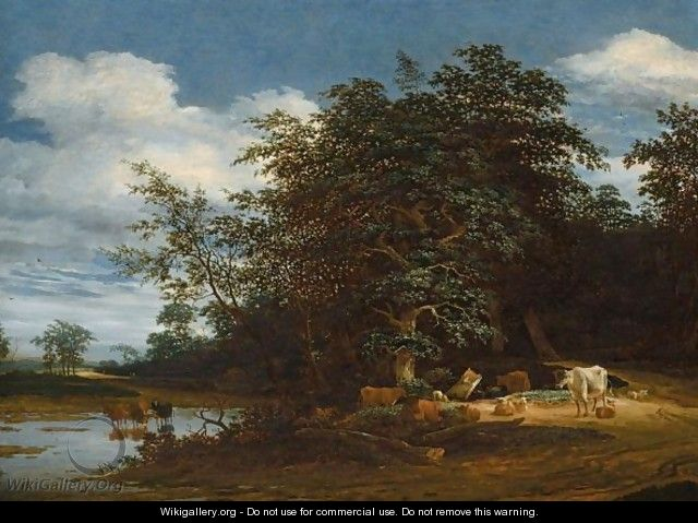 An Extensive Wooded River Landscape With Cattle And Sheep - Jacob Salomonsz. Ruysdael