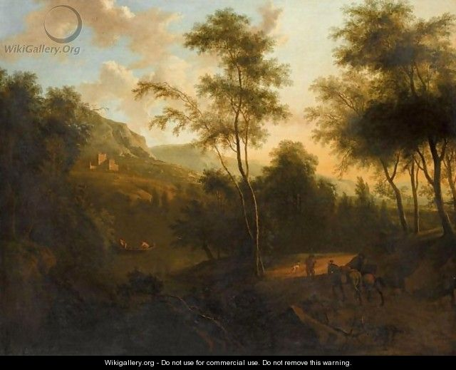 An Extensive Italianate Landscape With Mounted Travellers In The Foreground - Frederick De Moucheron