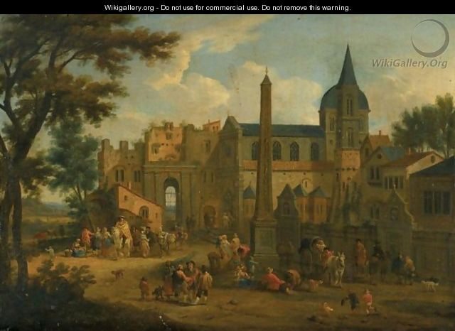 An Italianate Landscape, With Numerous Figures In A Piazza Before A Church - Mathys Schoevaerdts