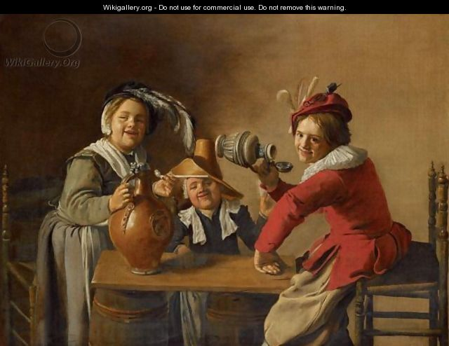 An Interior With Children Drinking And Mischief-Making - Jan Miense Molenaer