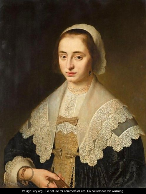 Portrait Of A Lady, Half Length, Wearing Black, With A White Lace Collar And Headress, Holding A Fan - Dutch School