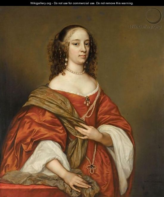Portrait Of A Lady, Three-Quarter Length, Wearing Pearls And An Orange Dress - Adriaen Hanneman