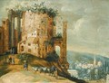 An Italianate Landscape With A Capriccio Of The Temple Of Vesta, Tivoli - (after) Willem Van, The Younger Nieulandt