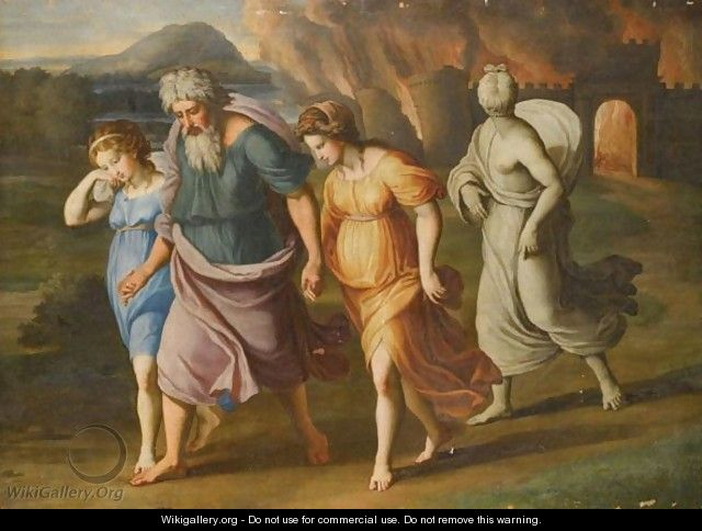 Lot And His Daughters Fleeing The Destruction Of Sodom And Gomorrah - (after) Raphael (Raffaello Sanzio of Urbino)