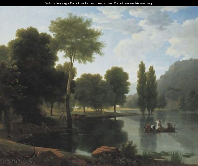 Rowing Party In A Landscape - Jean-Victor Bertin