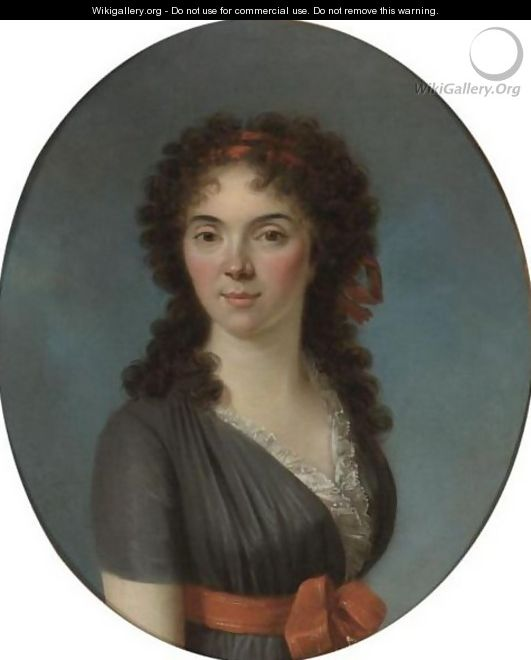 Portrait Of A Young Lady, Half Length, Wearing A Blue Dress And A Red Hairband - Marie-Victoire Lemoine