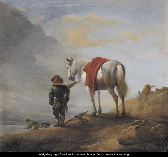 A Man Leading A Grey Horse - (after) Philips Wouwerman