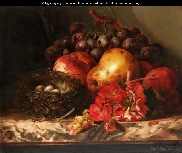 Still Life Of Fruit, Flower And A Birds Nest - Ellen Ladell