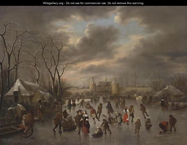 A Winter Landscape With A View Of Haarlem From The North With The Eentjes Or Leidse Waterpoort And The Langebrug, And A View Of The St. Bavo And The Bakenesse Church Beyond - Claes Molenaar (see Molenaer)