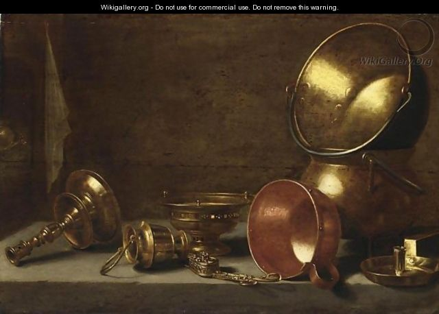 A Still Life With Copper Candlesticks, Pots And Pans On A Stone Ledge - Floris Gerritsz. van Schooten