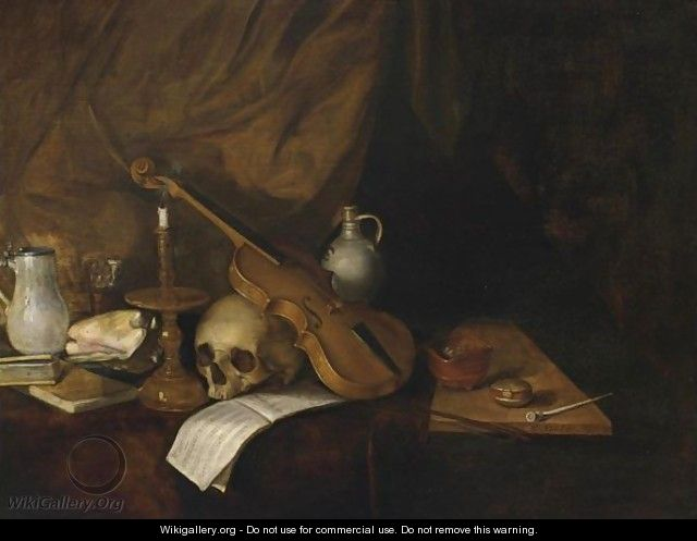 A Vanitas Still Life With A Violin, A Music Book, A Candlestick, A Skull, Books, A Conch Shell, A Pipe And Jugs - Dutch School