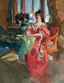 Portrait Of A Lady In A Red Dress - Konstantin Alexeievitch Korovin