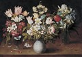 Still Life Of Three Floral Bouquets Resting On A Table - Osias, the Elder Beert