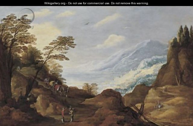 Travellers In A Mountainous Landscape - Joos De Momper