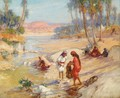 Women Washing Clothes In A Stream - Frederick Arthur Bridgman