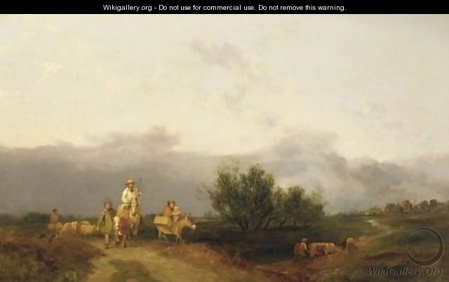 Travelers Along A Path, With A Town In A Distance - (after) William Snr Shayer