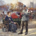 Flower Seller Near The Tour St. Jacques - Léon Joseph Voirin