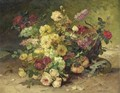 Basket Of Roses And Lilacs - Eugene Henri Cauchois