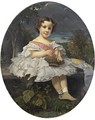 Little Girl Holding A Basket Of Cherries - (after) Franz Xaver Winterhalter