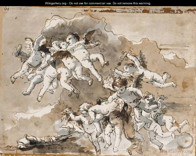 Putti In Clouds - Giovanni Domenico Tiepolo