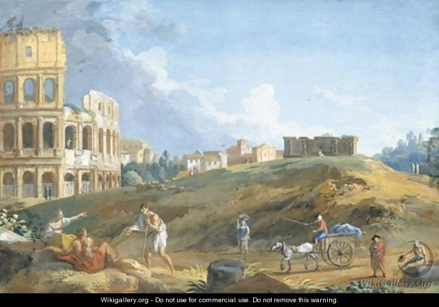 View Of The Colosseum With Travellers In The Foreground - Giovanni Battista Busiri