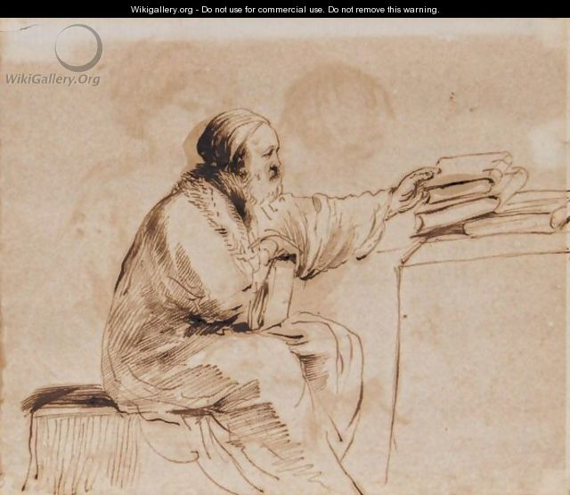 A Seated Man, Placing Books On A Table - Giovanni Francesco Guercino (BARBIERI)
