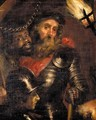 Portrait Of A Military Commander, With His Moorish Slave And A Soldier, By Torch Light - (after) Sir Peter Paul Rubens