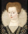 Portrait Of A Lady, Head And Shoulders, Wearing An Elaborate Ruff And A Black Dress Embroidered With Pearls - French School