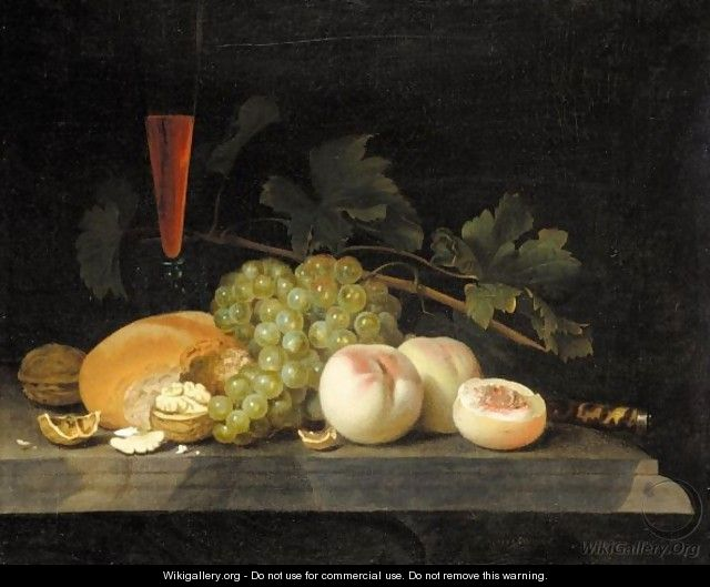 A Still Life With Peaches, Grapes, Walnuts, Bread, A Half Filled Flute, Vine Leaves And A Knife Handle On A Stone Ledge - Gillis Jacobsz. Van Hulsdonck