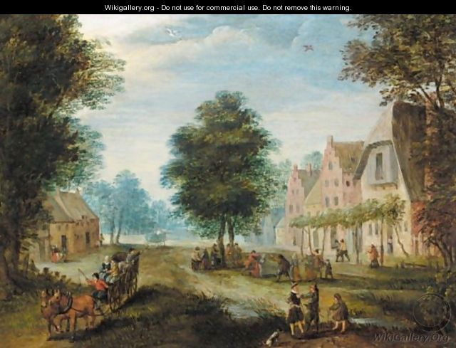 Village Scene With Figures Conversing In The Foreground, And Figures Dancing Beyond - (after) Jan The Elder Brueghel