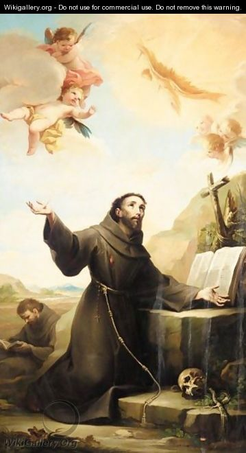 Saint Francis Of Assisi Receiving The Stigmata - Mariano Salvador Maella