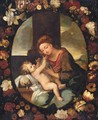 The Madonna And Child Surrounded By A Garland Of Flowers - Italian School