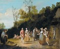 Village Scene With A Company Of Figures Dancing And Merrymkaing Outside A Tavern - Pieter Angillis