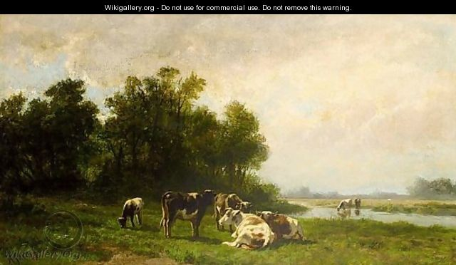 Cows In A Meadow - Hendrik Savrij