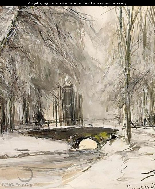A View Of A Bridge In A Winter Landscape - Louis Apol