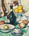 Still Life With A Benedictine Bottle And Fruit - Samuel John Peploe